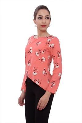 Tinge of Colors Casual Full Sleeve Floral Print Women's Pink Top