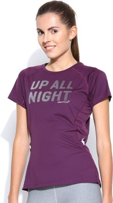 Puma Casual Short Sleeve Printed Women's Purple Top