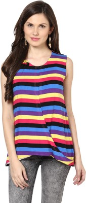 Glam & Luxe Casual Sleeveless Striped Women's Multicolor Top