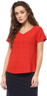 Avirate Casual Short Sleeve Self Design Women's Red Top
