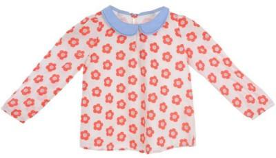 Joy N Fun Casual Full Sleeve Floral Print Girl's Orange, White Top