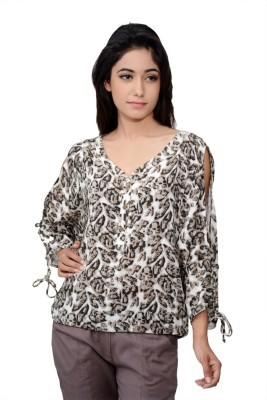 Lamora Casual 3/4 Sleeve Animal Print Women's Multicolor Top