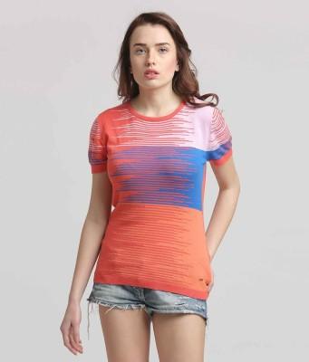 Moda Elementi Casual Short Sleeve Striped Women's Orange Top