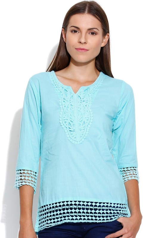 Shopaholic Casual 3/4th Sleeve Solid Women's Light Blue Top