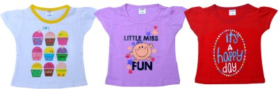 Little Stars Casual Cap sleeve Printed Baby Girl's Multicolor Top