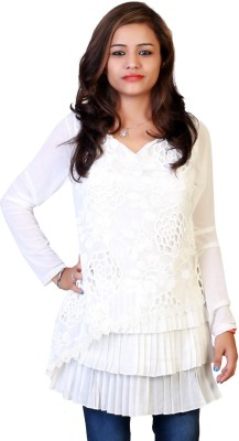 Ffashionstylus Party Full Sleeve Embroidered Women's White Top
