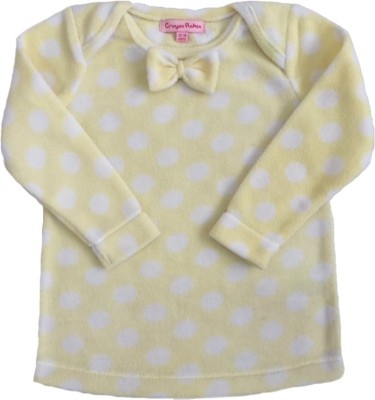 Crayon Flakes Casual Full Sleeve Polka Print Baby Girl,s Yellow Top