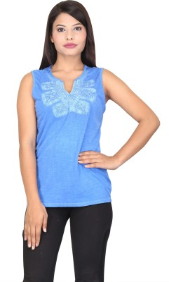 TUC Casual Sleeveless Embroidered Women's Blue Top