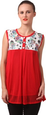 London Off Casual Sleeveless Floral Print Women's Red Top
