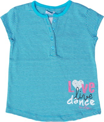 Milou Casual Short Sleeve Self Design Girl's Blue Top