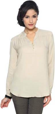 Van Heusen Casual Full Sleeve Solid Women's Beige Top
