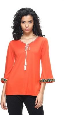 HANGNHOLD Casual 3/4 Sleeve Solid Women's Orange Top