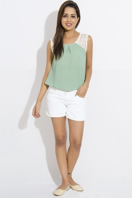 IDK Casual Sleeveless Solid Women's Green, White Top