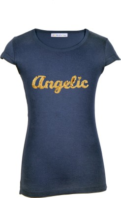Lil Orchids Casual Cap sleeve Embroidered Girl's Dark Blue Top