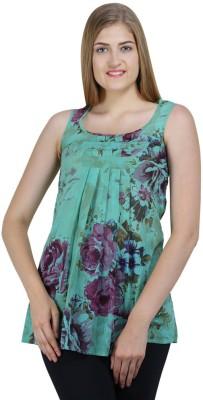 Bainy Casual Sleeveless Printed Women,s Green Top