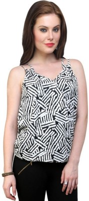 Pannkh Casual Sleeveless Printed Women's Black, White Top