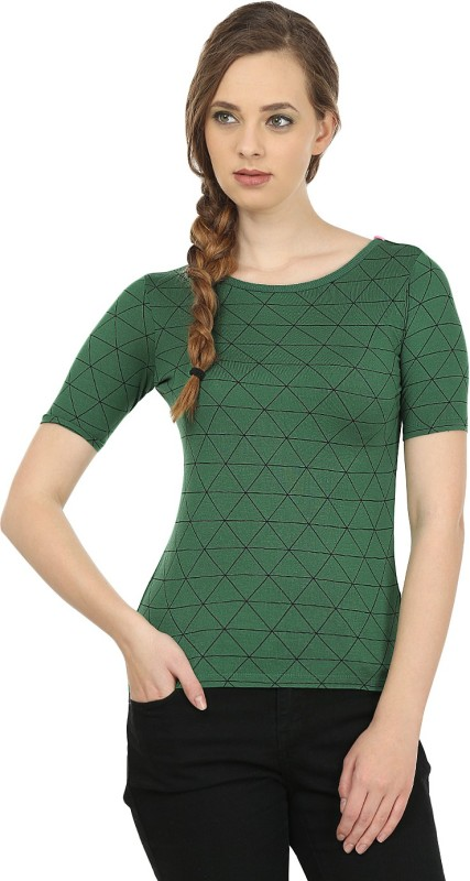 United Colors of Benetton Casual Short Sleeve Printed Women's Green, Black Top