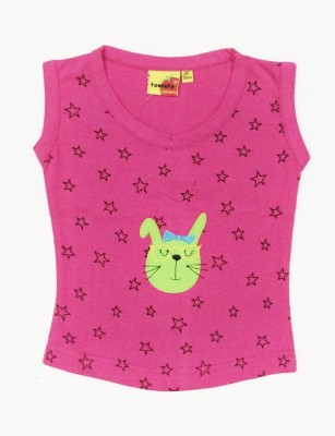 Tomato Casual Sleeveless Printed Girl's Pink Top