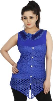 Sringar Casual Sleeveless Solid Women's Blue Top