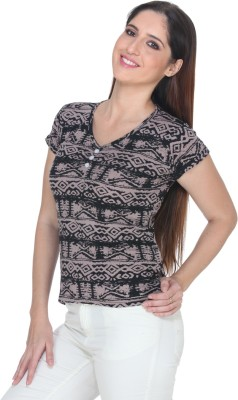 Fast n Fashion Casual Short Sleeve Geometric Print Women's Beige Top