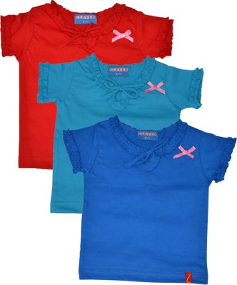 Clever Casual Short Sleeve Solid Girl's Blue, Light Blue, Red Top