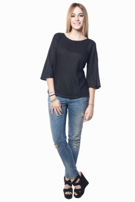 Westhreads Casual 3/4 Sleeve Solid Women's Black Top