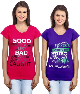 IndiWeaves Casual Short Sleeve Printed Girl's Red, Purple Top