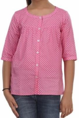 Trmpi Casual 3/4 Sleeve Polka Print Girl's Pink Top