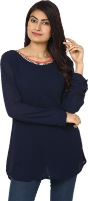 Passion Casual 3/4 Sleeve Solid Women's Blue Top