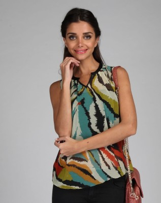 Free Spirited Casual Sleeveless Printed Women's Multicolor Top