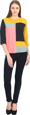 Glitterss Casual 3/4 Sleeve Solid Women,s Multicolor Top