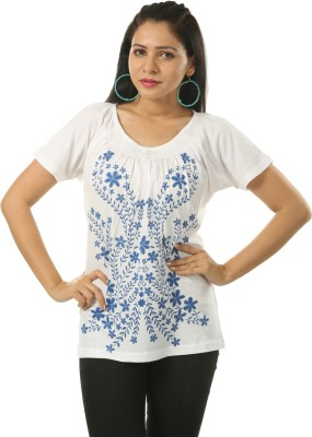 India Inc Casual Cape Sleeve Printed Women's White Top