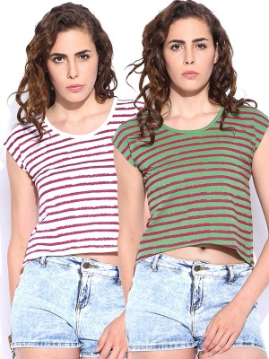Roadster Casual Short Sleeve Striped Women's White, Green Top