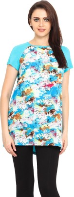 Bella Rosa Casual Short Sleeve Printed Women's Blue Top