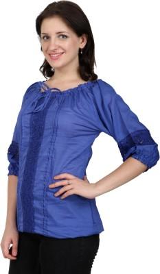 Shopaholic Casual 3/4 Sleeve Solid Women's Light Blue Top