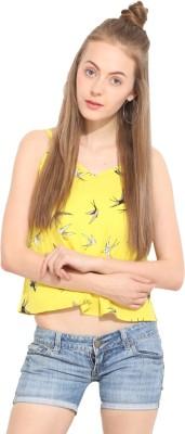 Lucero Casual Sleeveless Printed Women's Yellow Top