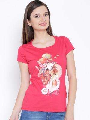 Oner Casual Short Sleeve Printed Women's Pink Top