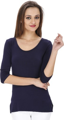 Svt Ada Collections Party 3/4 Sleeve Solid Women's Dark Blue Top