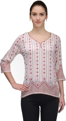 TheGudLook Casual 3/4 Sleeve Printed Women's White Top