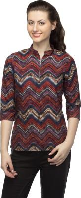 Bantry Casual 3/4 Sleeve Geometric Print Women's Multicolor Top