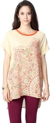 People Casual Short Sleeve Printed Womens Beige Top