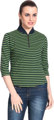 Rute Casual 3/4 Sleeve Striped Womens Green Top