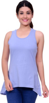 Lamora Casual Sleeveless Solid Women's Light Blue Top