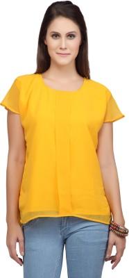 Viro Casual Short Sleeve Solid Women's Yellow Top