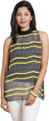 IDK Casual Sleeveless Printed Women's Multicolor Top