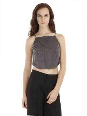 Fuziv Casual Sleeveless Solid Women's Grey Top