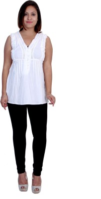 Indicot Casual, Formal, Party Sleeveless Solid Women's White Top