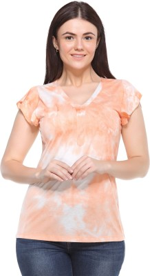 MOD PLUSS Casual Short Sleeve Printed Women's Orange Top