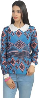 Glitterss Casual Full Sleeve Printed Women's Blue, White Top