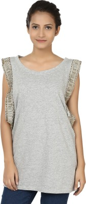 Modimania Casual, Festive, Party Short Sleeve Embellished Women's Grey Top